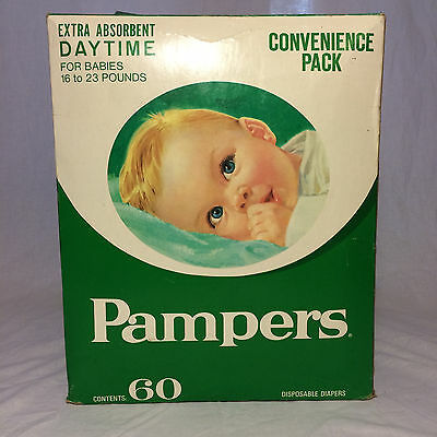 Vintage Pampers Diapers Extra Absorbent Daytime 16 to 23 Pounds 60 Count 1970's