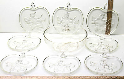 9 Pc Vintage Apple Shaped Clear Glass Floral Etched Punch Bowl+Serving Plates