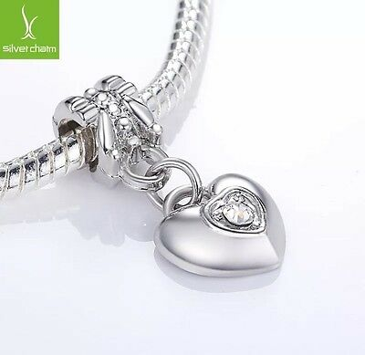 925 Silver Heart Shape Bead Charm Fits Bracelet & Neckless Bangle