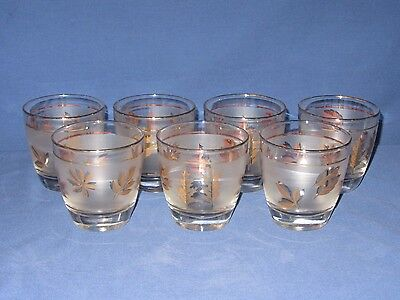7 Vintage Lowball Cocktail Glasses Frosted Gold Leaves Libbey 1950s Mid Century