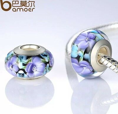 925 Silver Purple Murano Glass Bead Charm Fitted Bracelet And Neckless Bangle
