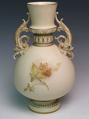 Beautiful Large Royal Worcester Vase Hand Painted Flowers c1890