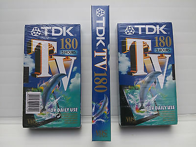 3 X TDK TV 180 minute NEW/SEALED blank video tape x3