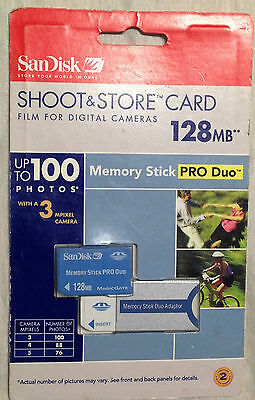 SanDisk 128MB Memory Stick Pro Duo & Adaptor New in Retail package USA