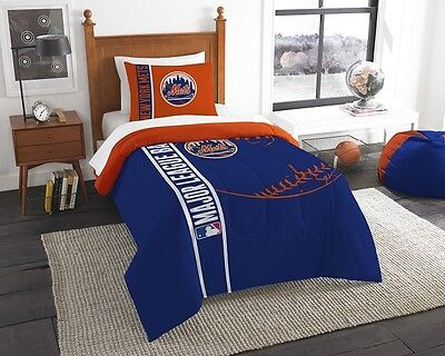 New York Mets 2 Piece TWIN Size Embroidered Bedding Set (Comforter & 1 Sham)