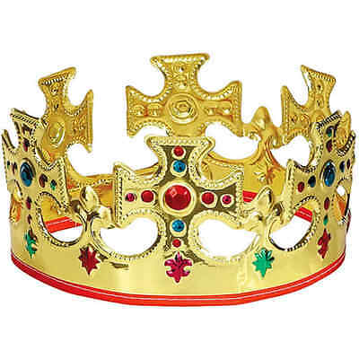 King Crown Hat Gold Jeweled Regal Adults Prince Costume Birthday Party, Plastic