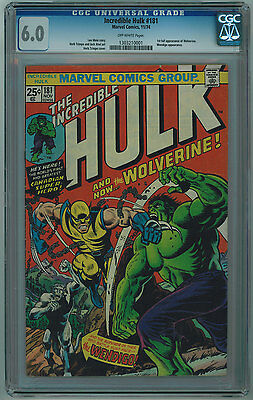 Hulk #181 Cgc 6.0 1St Full Wolverine Off-White Pages 1974
