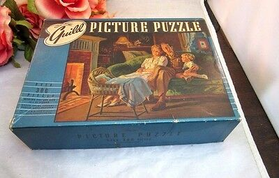 Vtg 1940's WWII Era Family scene Guild Jigsaw Picture Puzzle. Soldier at home