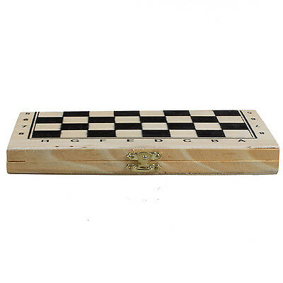 Foldable Wooden Chessboard Travel Chess Set with Lock and Hinges 05CF