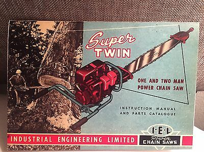 VINTAGE CHAINSAW IEL PARTS AND INSTRUCTION MANUAL SUPER TWIN SAWS 1950's TWO MAN