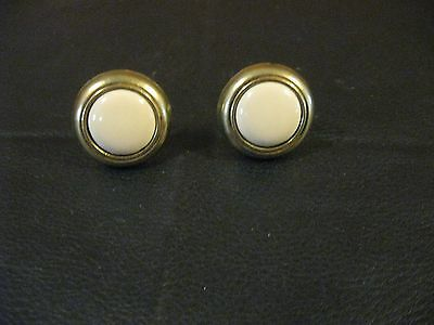 Set of 2 Mid-Century  Brass & Ivory Ceramic Cabinet Drawer Furniture Knobs