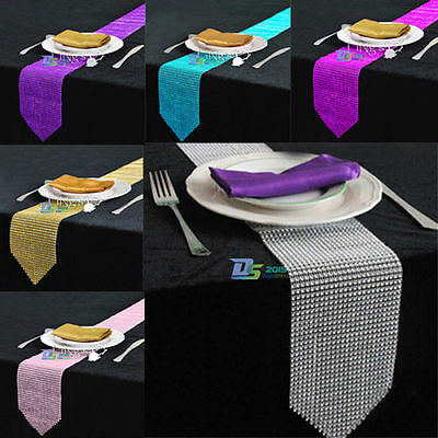 Wedding Sparkly Rhinestone Bling Party Banquet Venue Table Runner Home DIY Decor