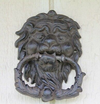 Door Knocker, Lion Head, Cast iron, wrought iron, gothic style gate hardware