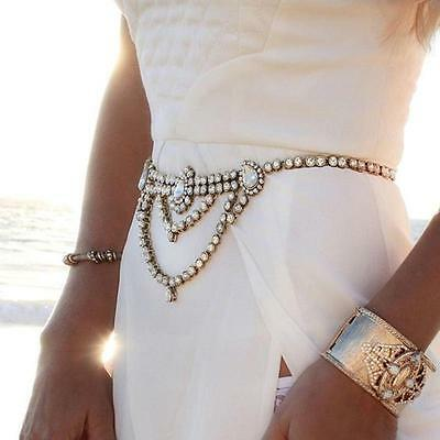 Charm Boho Silver Gold Rhinestone Crystal Gem Belt Belly Body Chain Jewelry HF