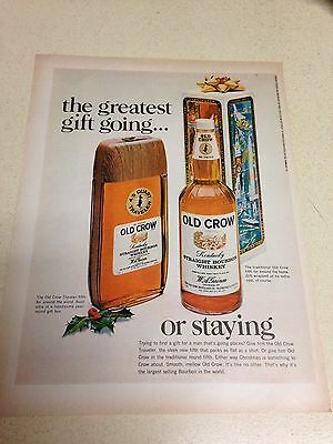 "1967 LARGE Vintage Ad Old Crow Bourbon 10""X13"""