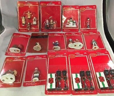 Lot Of 14 Dickens Collectibles Accessories On Cards Figures, Lampposts, Animal