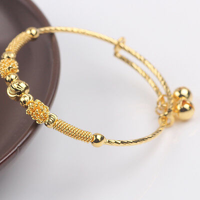 Perfect Bracelet 24k Yellow Gold Filled Children's Baby's Bangle Adjustable Gift