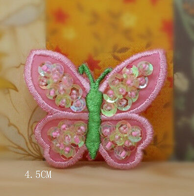 Wholesale bulk  lot  20pcs pink butterfly sewing on   iron On Patch