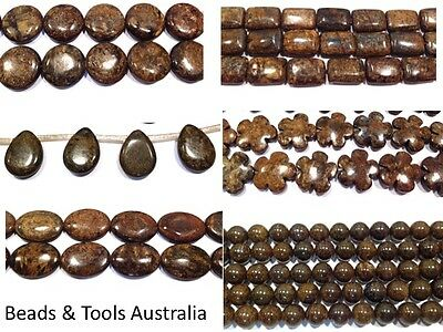 BRONZITE Beads - 12 Different Styles - Round Flowers Oval Coin RectangleTeardrop