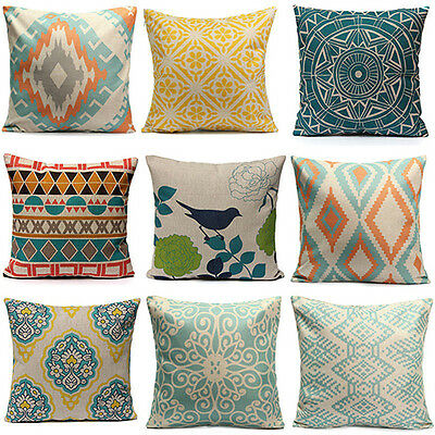Home Decor Vintage Flower Cotton Linen Throw Pillow Case Cushion Cover Fast Pin