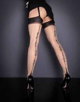 AGENT PROVOCATEUR Whip Me Stockings Flesh Size C Nude Black Pantyhose 20 Denier