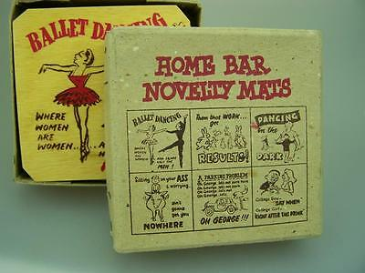 Novelty printed c1960's wooden bar drink coasters box of 6