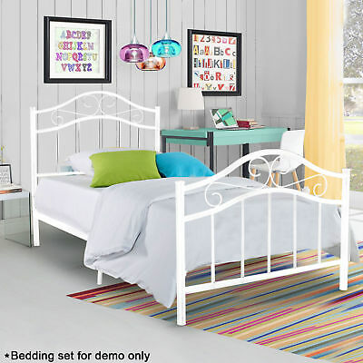 twin size metal platform bed frame heavy duty bedroom headboard steel foundation