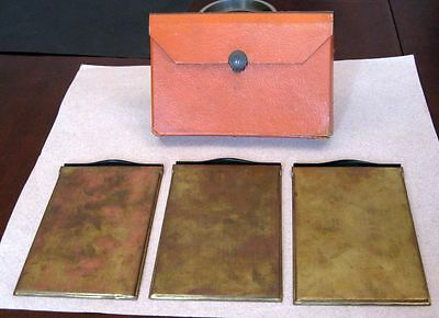 Set of 3 Fancy 4x5 Brass Unmarked Film Holders with Case