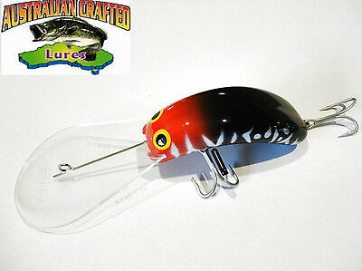 Australian Crafted Lures- cod 90mm invader redhead black col;24  40ft a.c.lures