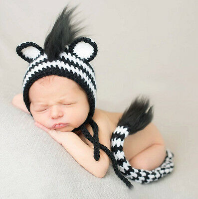 Newborn Baby Girl Crochet Knit Costume Photo Photography Prop Outfits Zebra New