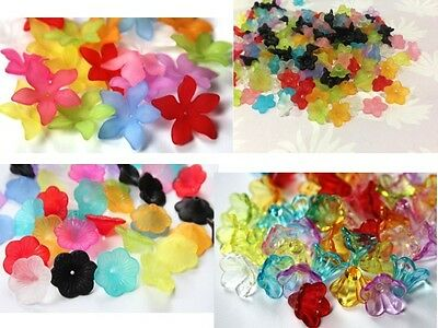 LUCITE STYLE Beads - Asst Styles - Flower Beads Mixed Colours & Sizes