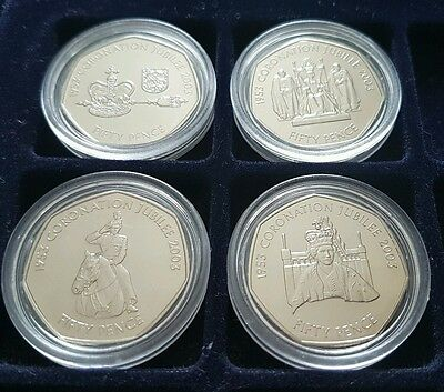 Coronation Jubilee Anniversary 50p Fifty Pence Coin Set of 4 2003 UNC Jersey AND