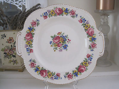 Gorgeous Vintage Woods Ivory Ware Floral Garlands Cake Plate