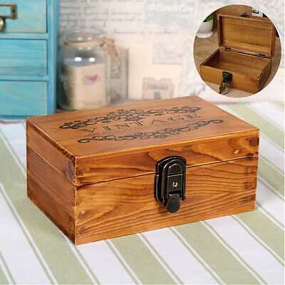 New Vintage Wooden Jewellery Box with Metal Lock & Key Trinket Chest Gift Case