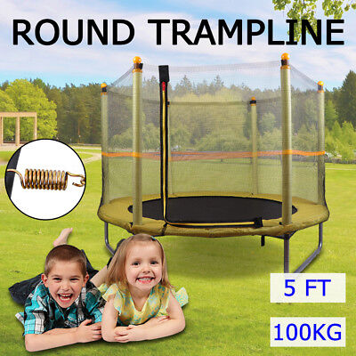 5ft Junior Round Trampoline With Enclosure Indoor/Outdoor Fitness Home Exercise