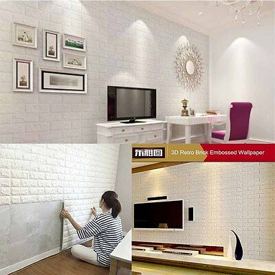 40Roll 3D effect Flexible Stone Brick Wall Textured Viny Self-adhesive Wallpaper