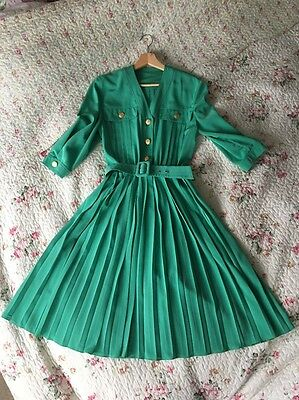 90's JOBIS Gorgeous Vintage Green Pleated Dress With Belt Size 12