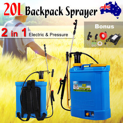 2 in 1 20L Electric & Pressure Backpack Sprayer Spray Farm Weed 12V