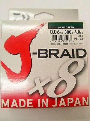 NEW DAIWA J-BRAID X8 FISHING LINE 300m SPOOL .06mm  9lbs  4kg