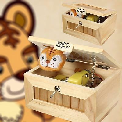 Mini Useless Leave Me Alone Box Wooden Machine Don't Touch Tiger Toy Kids Gift