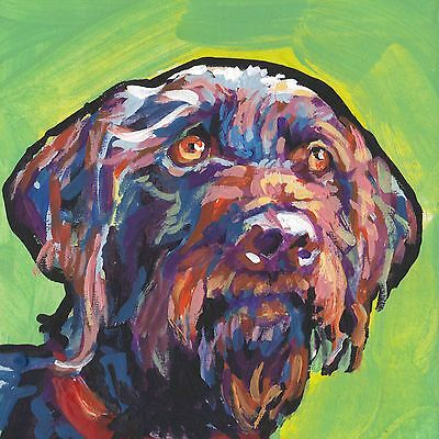 """German wirehaired pointer dog print of bright pop art painting gwp 8x8"""""""