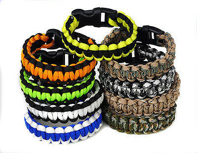Parachute Cord Camo 550 Paracord Survival Buckle Bracelet Wristband Camping Fab