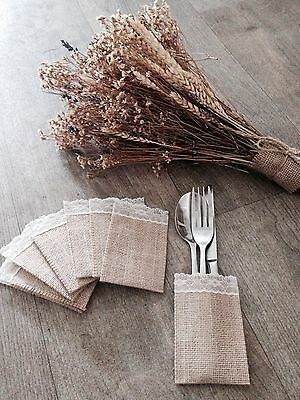Rustic Hessian Cutlery/Favour Sleeves Wedding Decoration Shabby Chic X 10