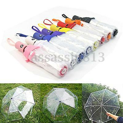 Automatic Open Close Folding Umbrella Compact Windproof Rain Transparent Clear