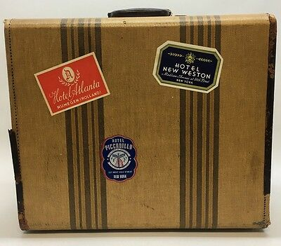 Vintage Luggage Tweed Leather Suitcase w/Travel Stickers