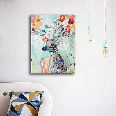 30×40×3cm Colorful Deer Flower Canvas Print Framed Wall Art Home Decor Painting