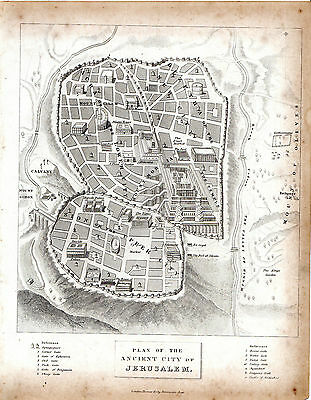 ANTIUE STREET PLAN OF THE ANCIENT CITY OF JERUSALEM-THOMAS KELLY, LONDON (c1840)
