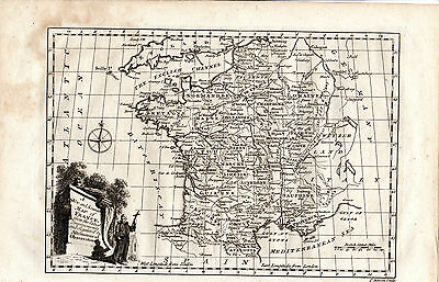 Antique 245 Years Old Copperplate Map Of France - Engraved By Thomas Bowen