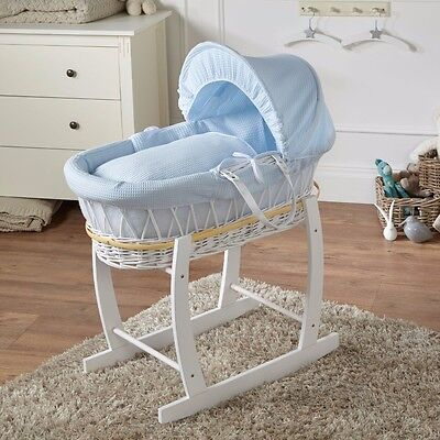 Deluxe Padded Moses Basket Blue Waffle White Wicker & Rocking Stand White