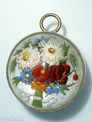 Edwardian reverse carved glass Pendant for necklace flower Daisy spray two sided